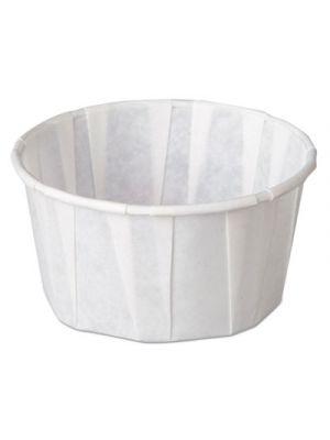 Squat Paper Portion Cup, Pleated, 4 oz, White, 5000/Carton