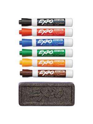 Dry Erase Marker & Organizer Kit, Chisel Tip, Assorted, 6/Set