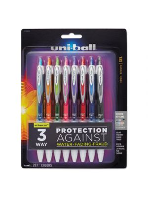 Signo 207 Retractable Gel Pen, Assorted Ink, 0.7mm, 8/Set