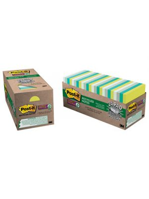 Recycled Notes in Bora Bora Colors, 3 x 3, 70-Sheet, 24/Pack