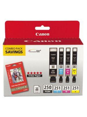 6497B004 (PGI-250; CLI-251) Ink & Paper Combo Pack, Black/Cyan/Magenta/Yellow