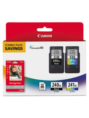 5206B005 (PG-240XL/CL-241XL) High-Yield Ink & Paper Combo Pack, Black/Tri-Color