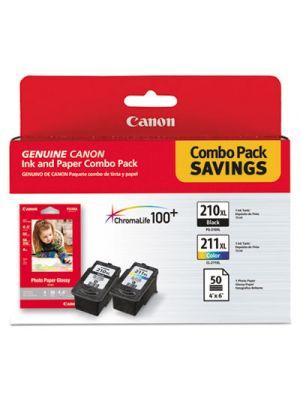 2973B004 (PGI-210XL/CL-211XL) High-Yield Ink/Paper Combo, Black/Tri-Color