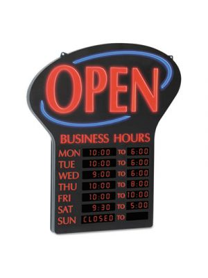 LED Open Sign w/Digital Business Hours, 20 1/2 x 1 1/4 x 23 1/2, Black/Red/Blue