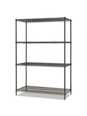 All-Purpose Wire Shelving Starter Kit, 4-Shelf, 48 x 24 x 72, Black Anthracite+