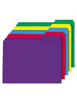 File Folders; 1/3 Cut Double-Ply Top Tab; Letter; Assorted Colors; 100/Box