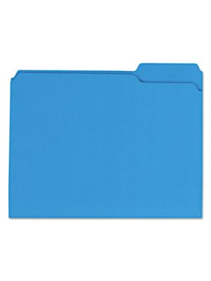 Colored File Folders; 1/3 Cut Assorted; Two-Ply Top Tab; Letter; Blue; 100/Box