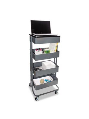 Multi-Use Storage Cart/Stand-Up Workstation, 17w x 14 3/8d x 18 1/2 - 39d, Gray