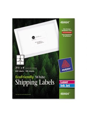 EcoFriendly Laser/Inkjet Shipping Labels, 3 1/3 x 4, White, 600/Pack