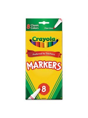 Non-Washable Markers, Fine Point, Classic Colors, 8/Set