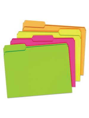 Glow File Folders; 1/3 Cut Top Tab; Letter; Assorted Colors; 24/Box