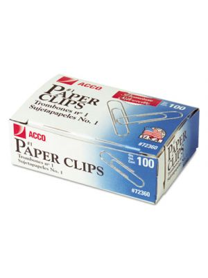 Premium Paper Clips, Smooth, #1, Silver, 100/Box, 10 Boxes/Pack
