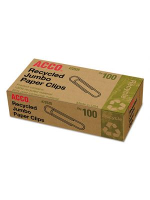 Recycled Paper Clips, Smooth, Jumbo, 100/Box, 10 Boxes/Pack