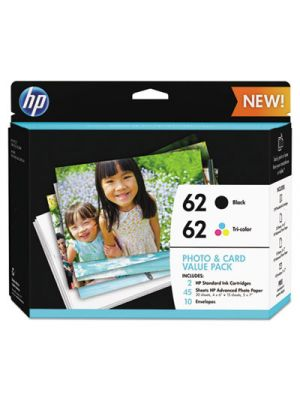 HP 62 (K3W67AN) Black/Tri-Color Original Ink w/Photo Paper,30;4