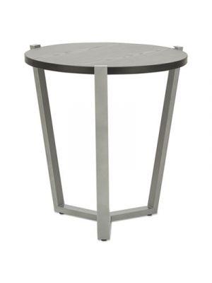 Round Occasional Corner Table, 21 1/4 dia x 22 3/4h, Black/Silver