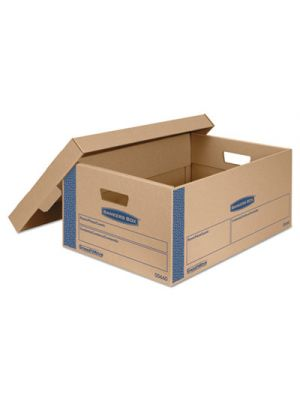 SmoothMove Prime Large Moving Boxes, Lift Lid, 24l x 15w x 10h, Kraft/Blue, 8/CT