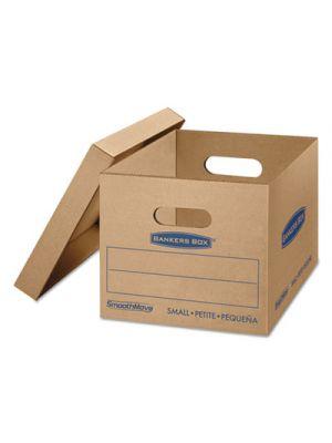 SmoothMove Classic Small Moving Boxes, 15l x 12w x 10h, Kraft/Blue, 15/Carton