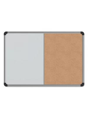 Cork/Dry Erase Board, Melamine, 24 x 18, Black/Gray Aluminum/Plastic Frame