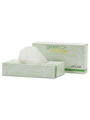 Green Heritage Facial Tissue, 2-Ply, White, 7 4/5 x 8, 100/Box, 72 Box/Carton