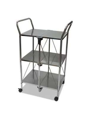 Click-N-Fold Dual Handle Service Cart, 18 5/16w x 23 5/8d x 36 5/8h, Chrome
