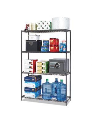 BA Plus Wire Shelving Starter Kit, 4-Shelf, 48 x 18 x 72, Black Anthracite+