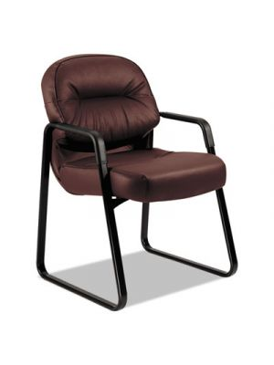 Pillow-Soft 2090 Series Guest Arm Chair, Burgundy Leather