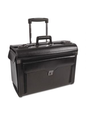 Bond Street Collection Catalog Case on Wheels, Leather, 19 x 9 x 15-1/2, Black