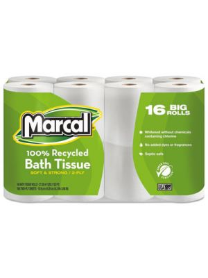 100% Recycled Two-Ply Bath Tissue, White, 16 Rolls/Pack
