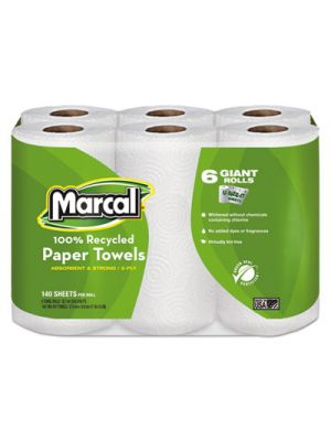 100% Recycled Roll Towels, 2-Ply, 5 1/2 x 11, 140/Roll, 6 Rolls/Pack