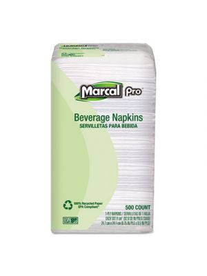100% Recycled Beverage Napkins, 1-Ply, 9 3/4 x 9 1/2, White, 4000/Carton