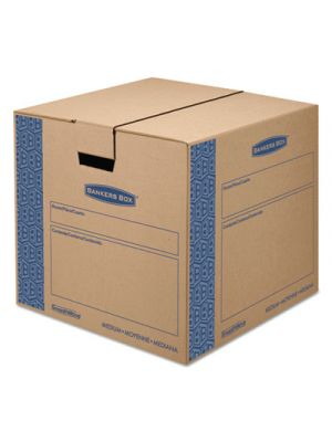 SmoothMove Prime Medium Moving Boxes, 18l x 18w x 16h, Kraft/Blue, 8/Carton