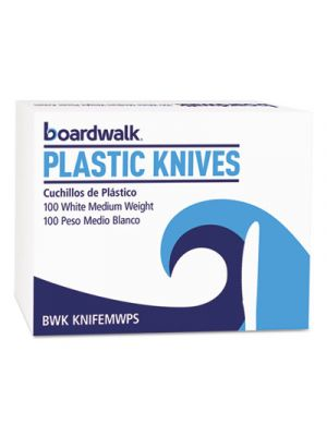 Mediumweight Polystyrene Cutlery, Knife, White, 100/Box