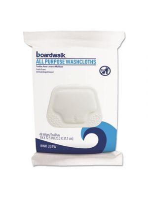 Premoistened Personal Washcloths, 12 1/2 x 7 9/10, Fresh Scent, 48/Pack