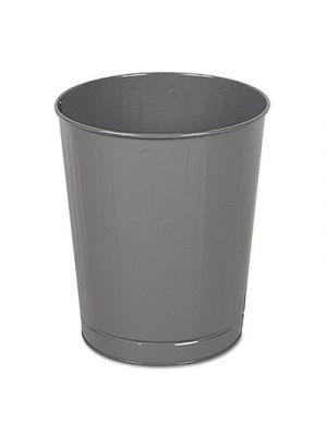 Fire-Safe Wastebasket, Round, Steel, 6 1/2 gal, Gray, 6/Carton