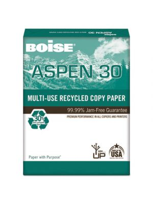 ASPEN 30% Recycled Multi-Use Paper, 3-Hole, 92 Bright, 20lb, 8 1/2 x 11, White