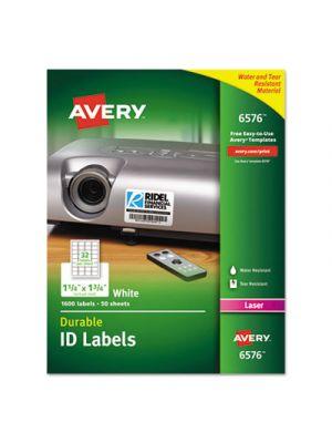 Permanent ID Labels w/TrueBlock Technology, Laser, 1 1/4 x 1 3/4, White, 1600/PK