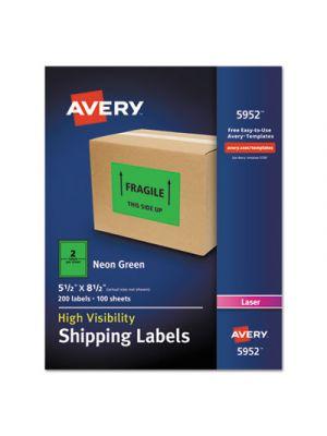 Neon Shipping Label, Laser, 5 1/2 x 8 1/2, Neon Green, 200/Box