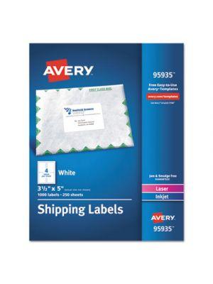 White Shipping Labels, Inkjet/Laser, 3 1/2 x 5, White, 1000/Box