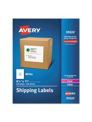 Full-Sheet White Shipping Labels, Inkjet/Laser, 8 1/2 x 11, White, 250/Box