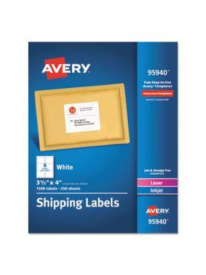 White Shipping Labels, Inkjet/Laser, 3 1/3 x 4, White, 1500/Box