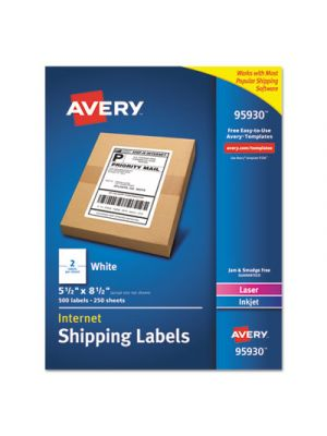 White Shipping Labels, Inkjet/Laser, 5 1/2 x 8 1/2, White, 500/Box