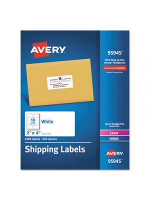 White Shipping Labels, Inkjet/Laser, 2 x 4, White, 2500/Box