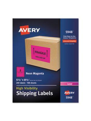 Neon Shipping Label, Laser, 5 1/2 x 8 1/2, Neon Magenta, 200/Box