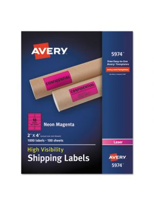 Neon Shipping Label, Laser, 2 x 4, Neon Magenta, 1000/Box