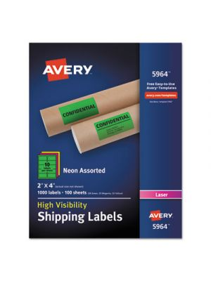 Neon Shipping Label, Laser, 2 x 4, Neon Assorted, 1000/Box