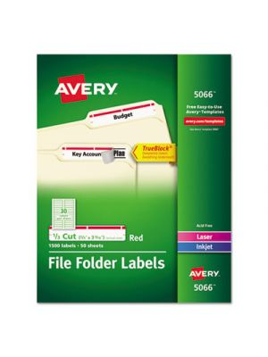Permanent File Folder Labels, TrueBlock, Inkjet/Laser, Red, 1500/Box