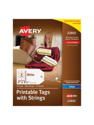 Printable Rectangular Tags with Strings, 2 x 3 1/2, White, 96/Pack