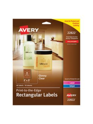 Rectangle Print-to-the-Edge Labels, 2 x 3, Glossy Clear, 80/Pack