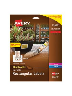 Removable Durable White Rectangle Labels, 1 1/4 x 1 3/4, Glossy, 256/PK