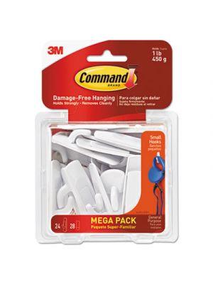 General Purpose Hooks, 1lb Capacity, Plastic, White, 24 Hooks, 28 Strips/Pack
